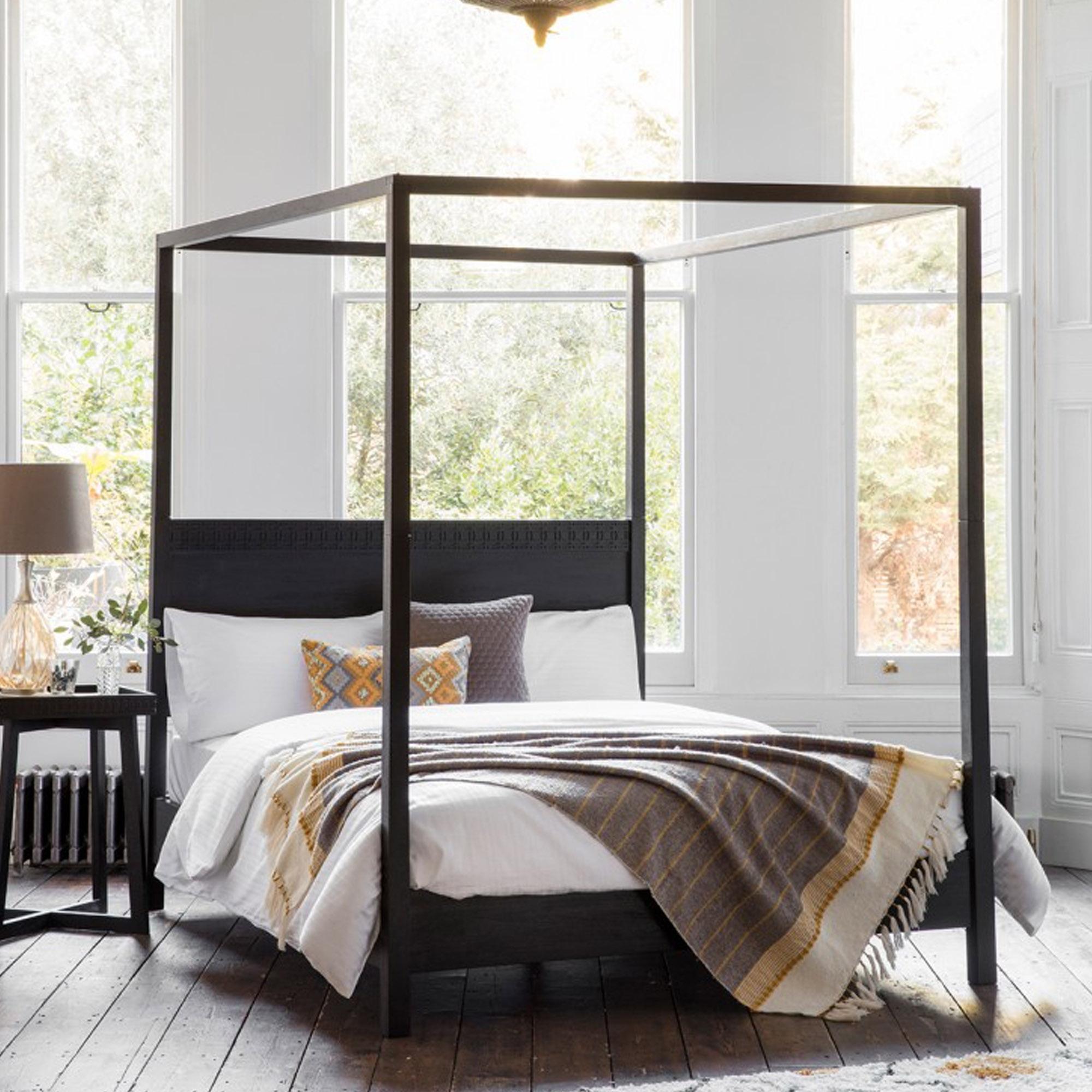 Boho Boutique 4 Poster Bed Modern Beds Black 4 Poster Bed