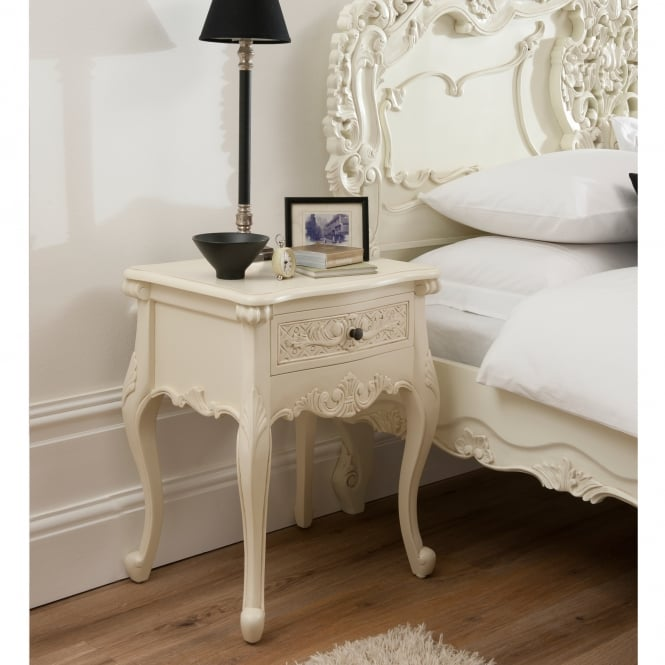 Bordeaux 1 Drawer Ivory Shabby Chic Bedside