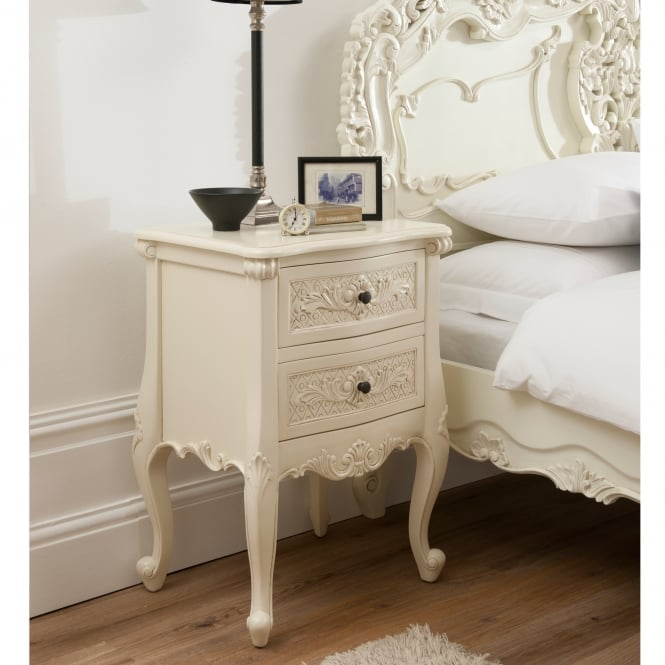 Bordeaux Ivory 2 Drawer Antique French Style Bedside