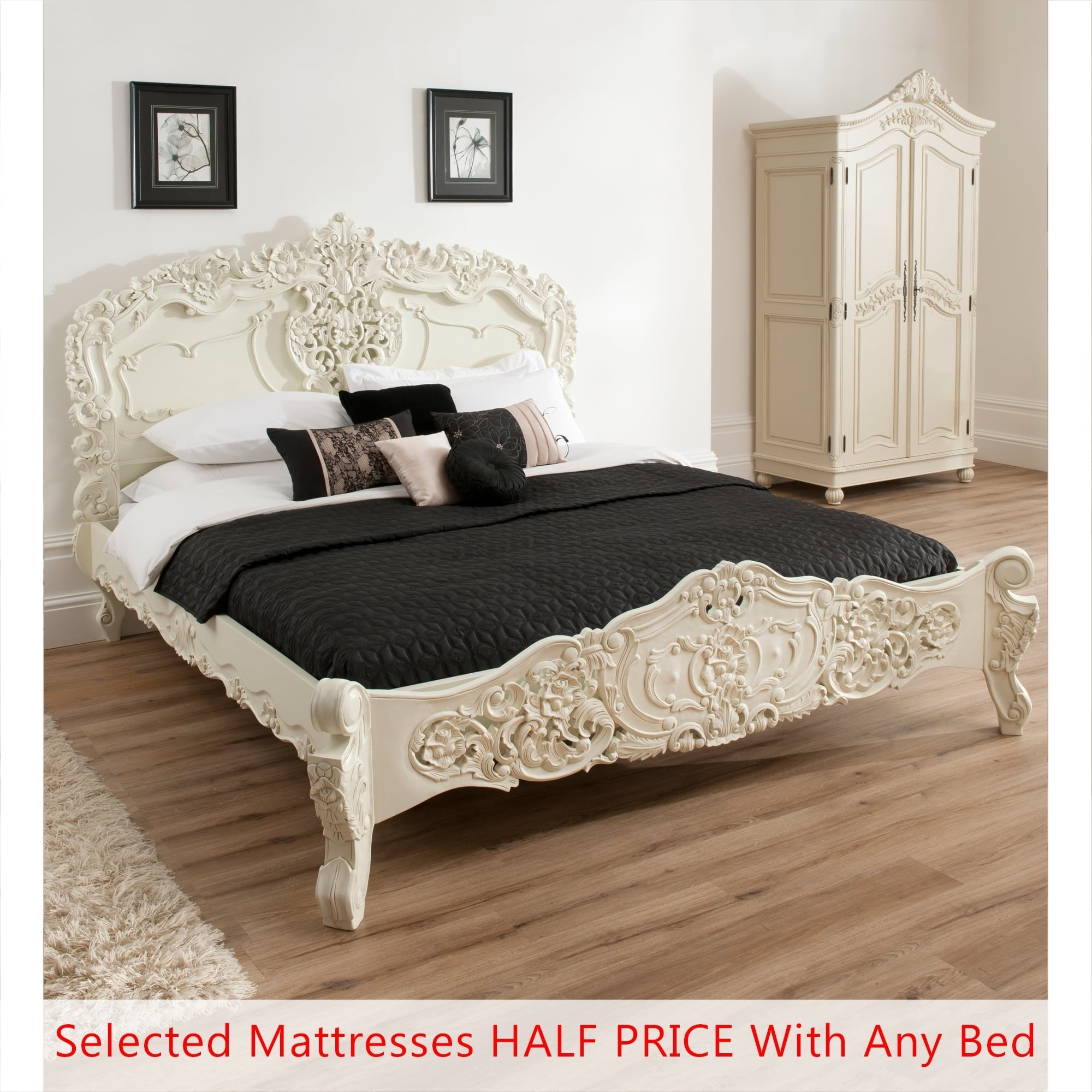 Bordeaux ivory shabby chic bed double half price mattress bundle french furniture from homesdirect 365 uk