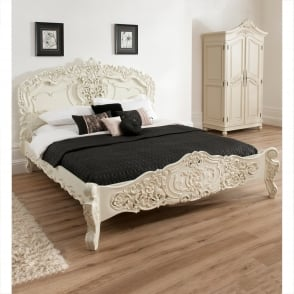 Bordeaux Ivory Shabby Chic Bed (Size: Kingsize)