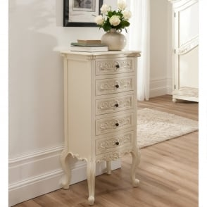 Bordeaux Shabby Chic Tallboy Chest