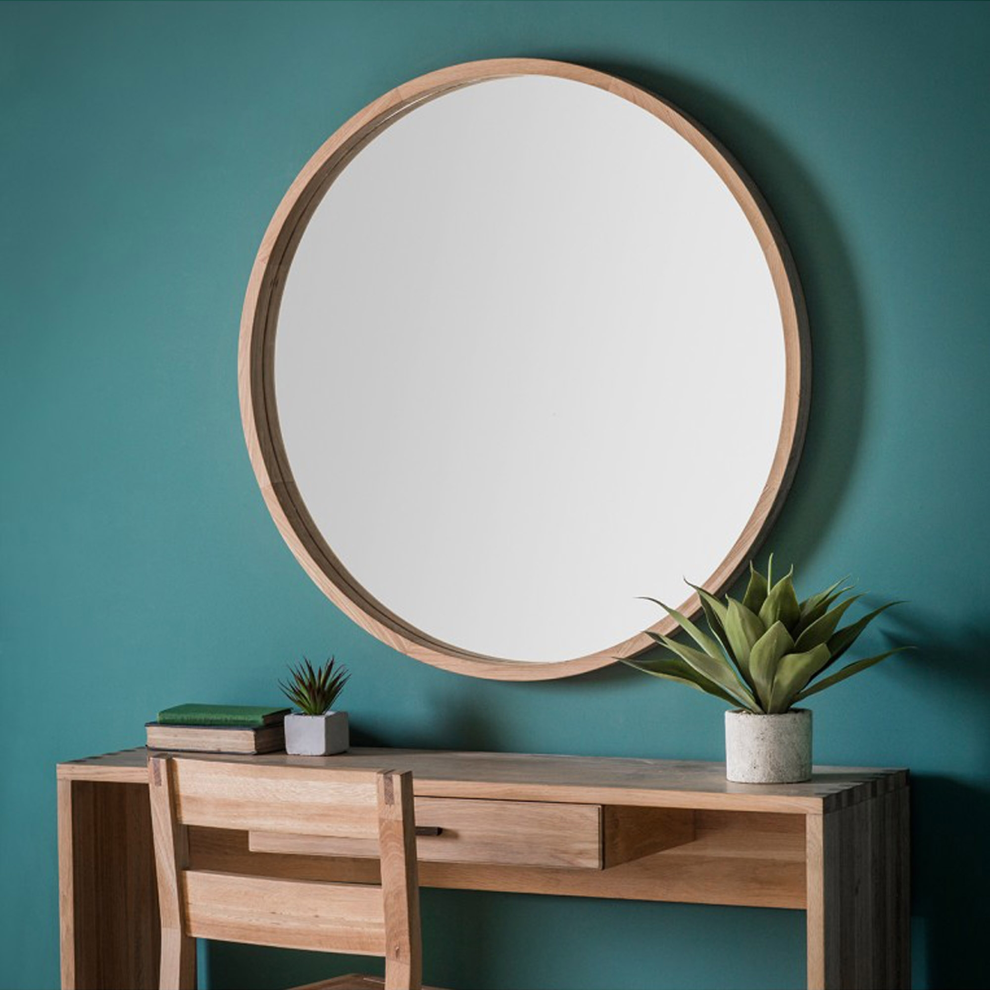 Bowman Large Round Wall Mirror Wall Mirrors Homesdirect365