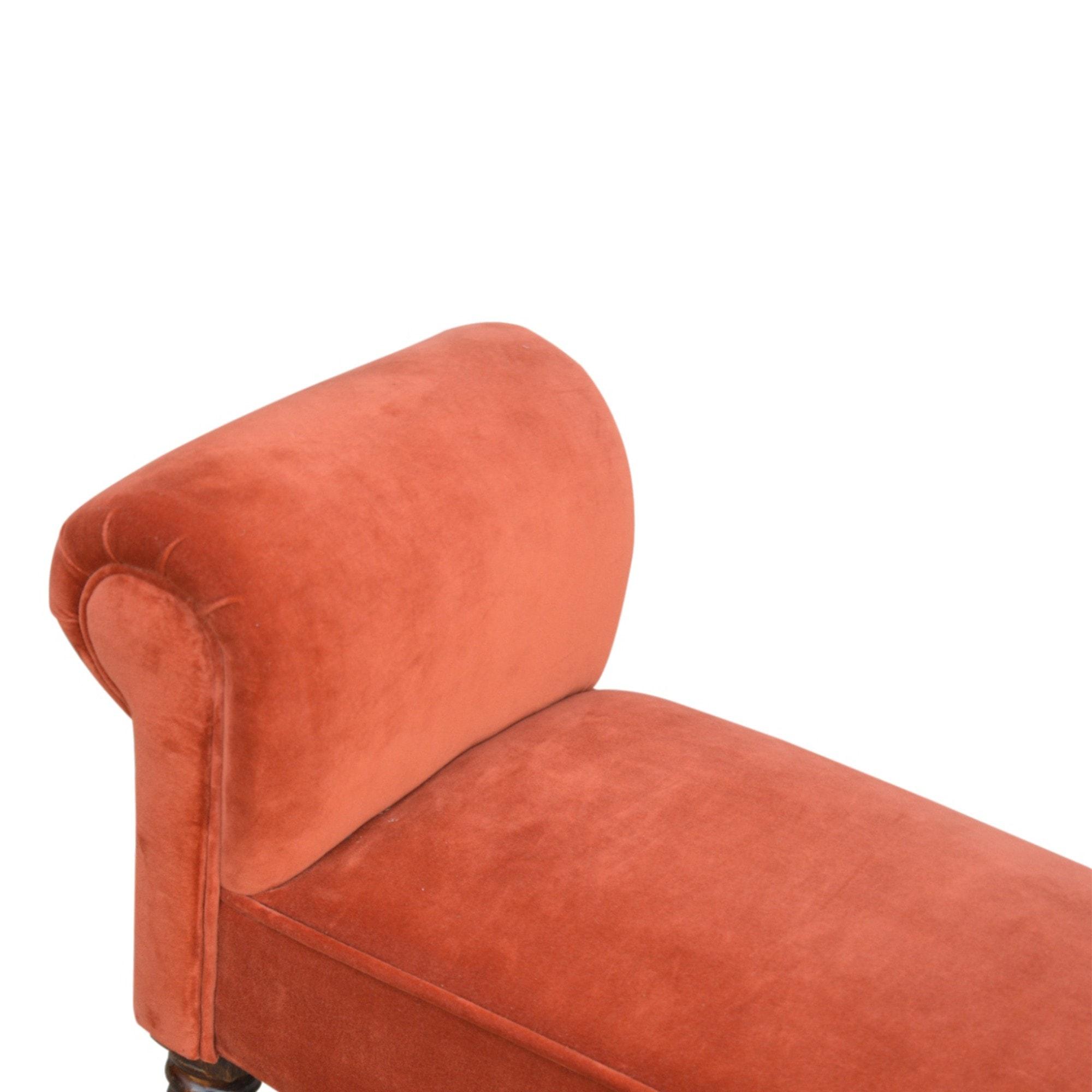 Brick Red Velvet Bench Modern Furniture Benches