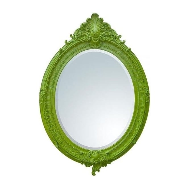 Bright Green Oval Bevelled Antique French Style Mirror