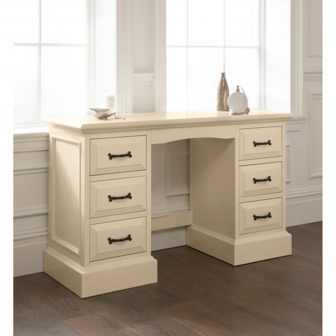 Brittany Double Pedestal Shabby Chic Dressing Table