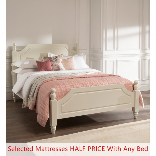 Brittany Shabby Chic Bed (Size: Double) + Mattress - Bundle Deal