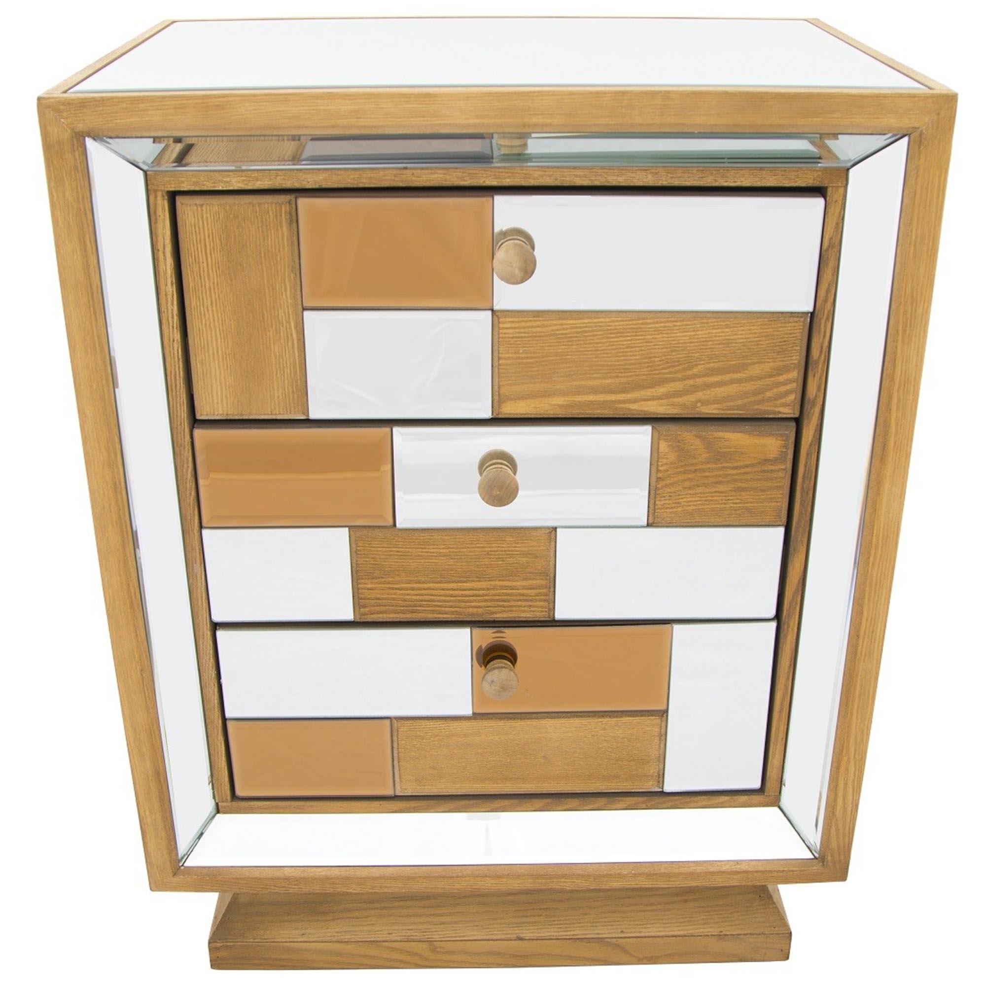 Bronze Mirrored Bedside Cabinet