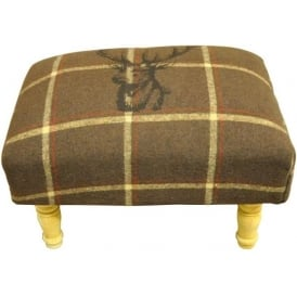 Brown Checked Stags Head Footstool