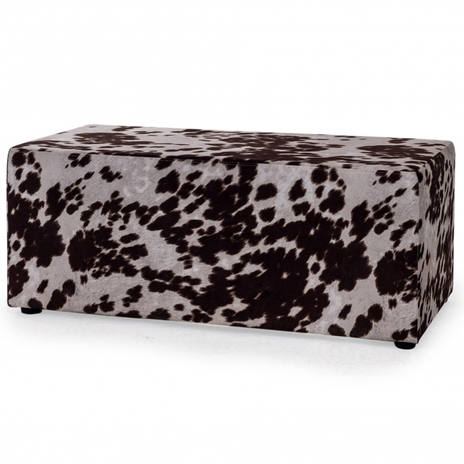Brown Cowhide Retro Footstool