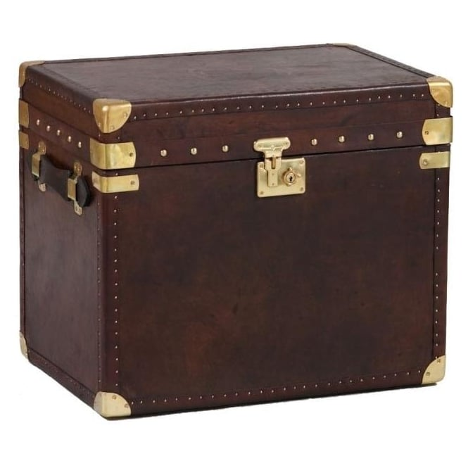 Brown Leather & Brass Wide Travel Trunk
