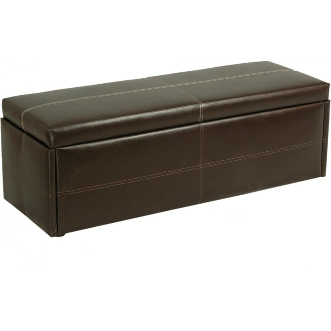 Brown Stanton Faux Leather Ottoman