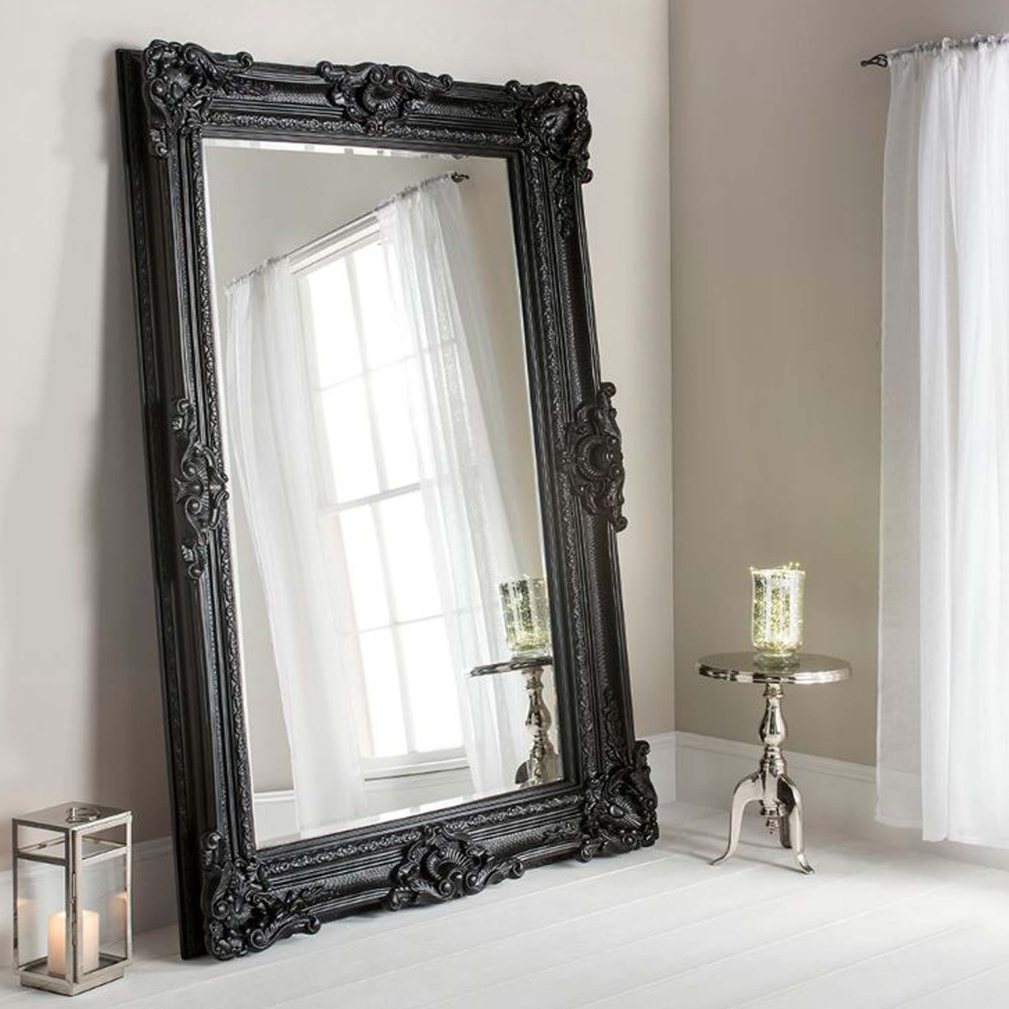 Buckingham Black Antique French Style Floorstanding Mirror