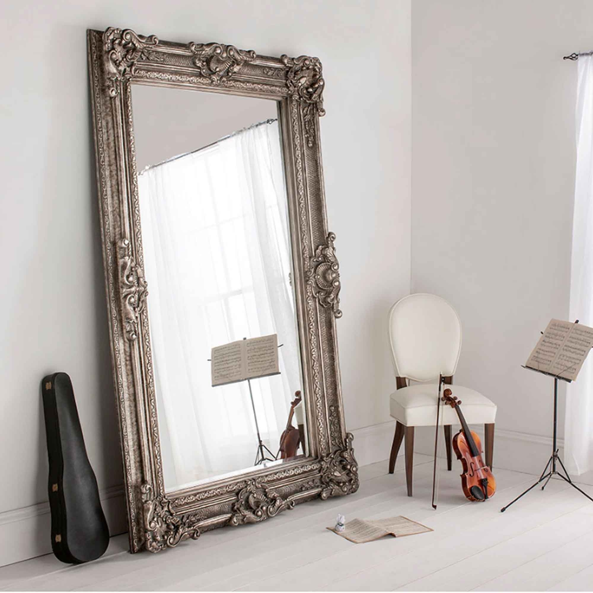 Buckingham silver antique french style floorstanding for Large decorative floor mirrors