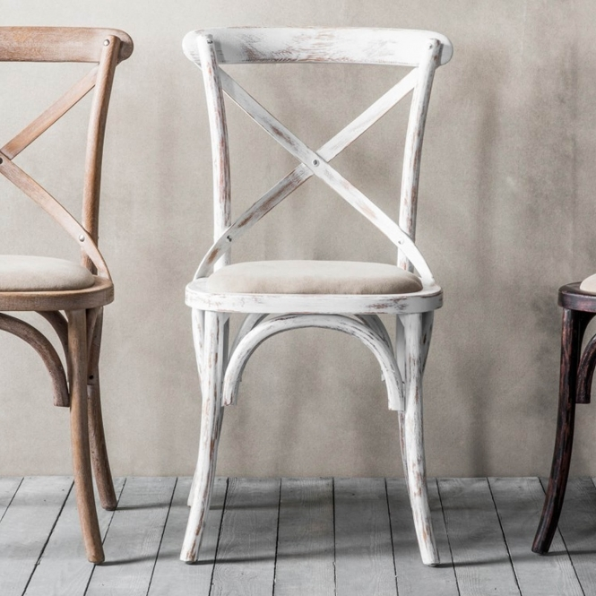 Caf 233 2 White Shabby Chic Chairs Chairs Homesdirect365