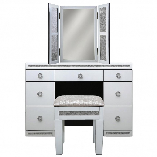 Calco Mirrored Dressing table Set