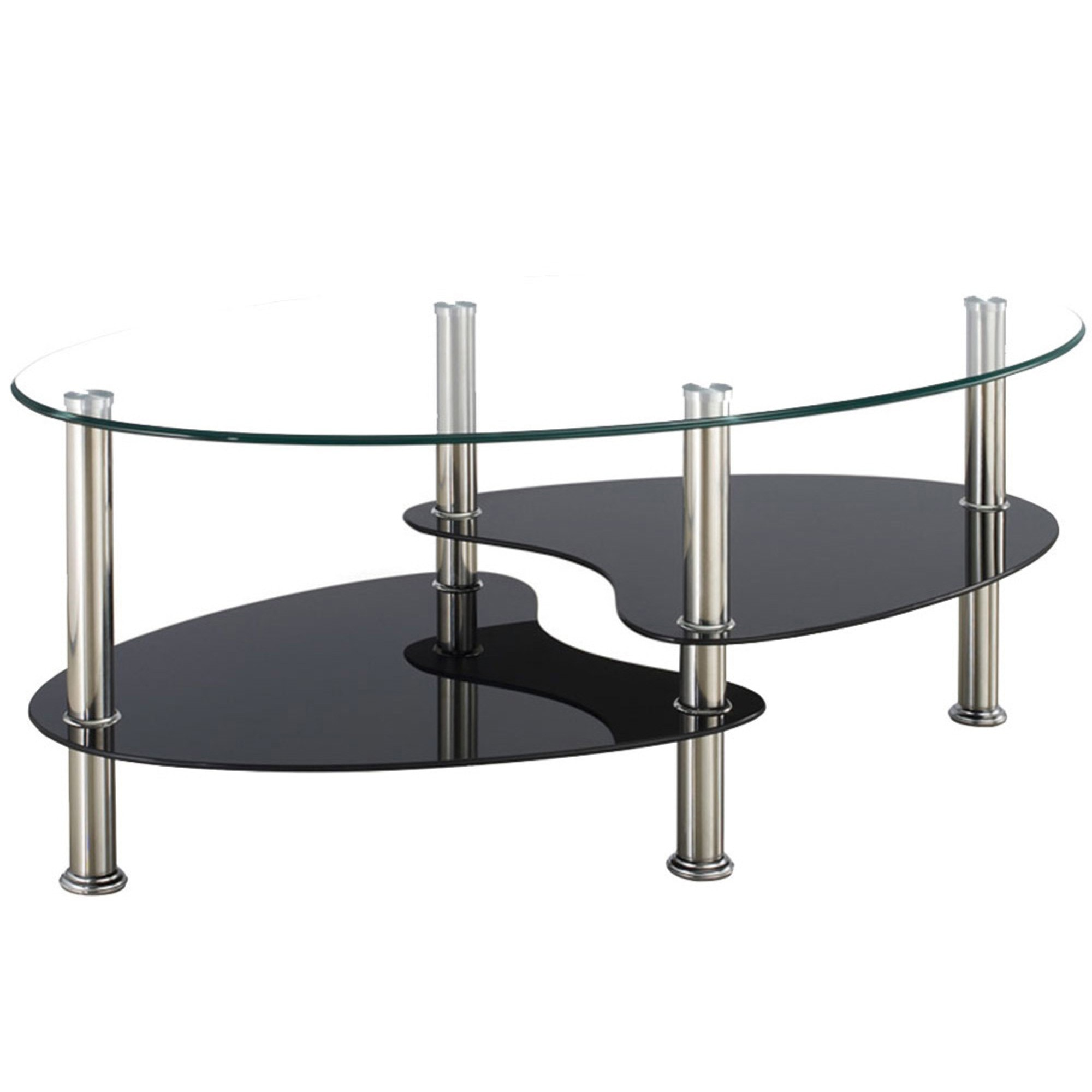 Oval Clear And Black Glass Coffee Table Dining Glass Furniture