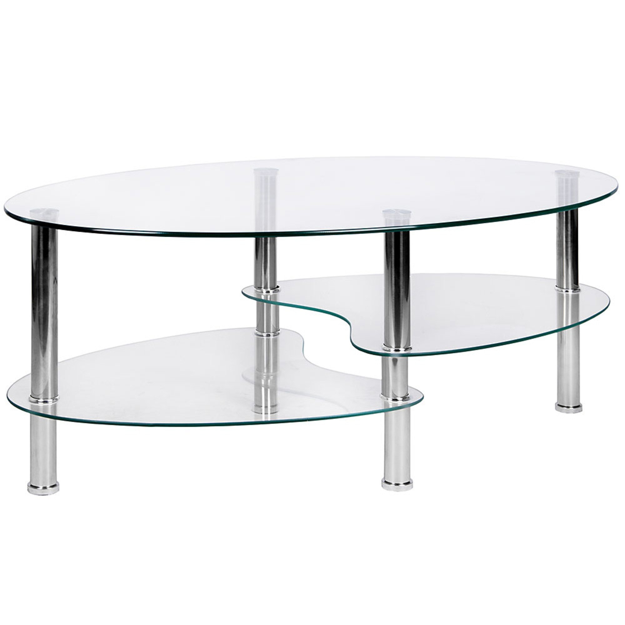 - Cara Oval Clear Glass Coffee Table Dining Glass Furniture