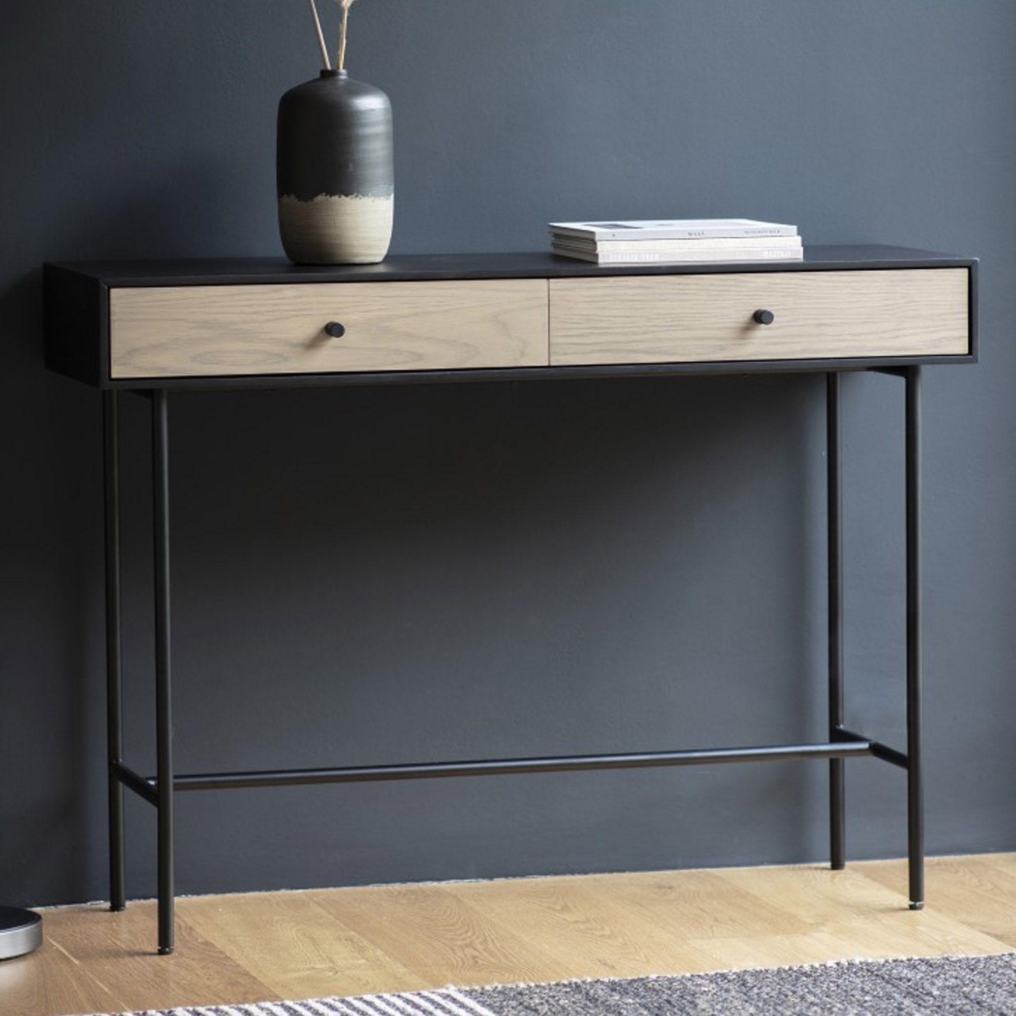 Carbury 2 Drawer Console Table Modern Console Table Industrial Console Table