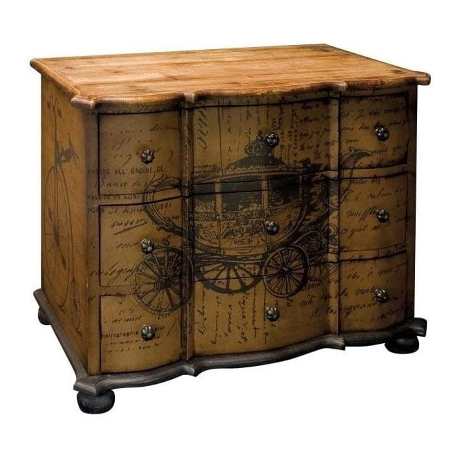 Carriage Wood Print Shabby Chic Chest