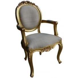 Carved Gilt Antique French Style Chair