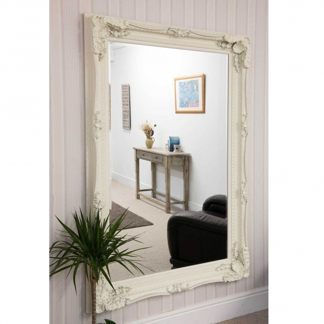 Carved Louis Antique French Style White Wall Mirror Hd365