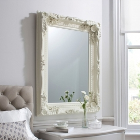 Carved Louis Cream Antique French Style Wall Mirror