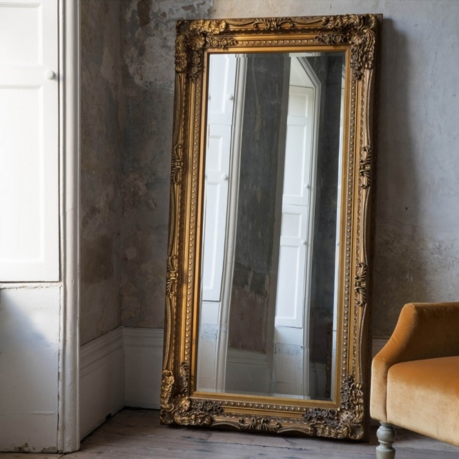 Carved Louis Gold Antique French Style Leaner Mirror