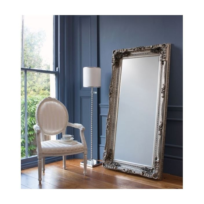 Carved Louis Silver Antique French Style Floorstanding Mirror ...