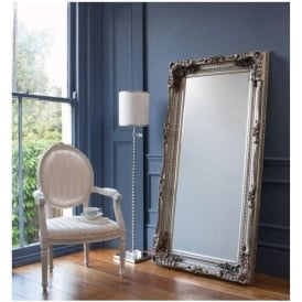 Carved Louis Silver Antique French Style Floorstanding Mirror