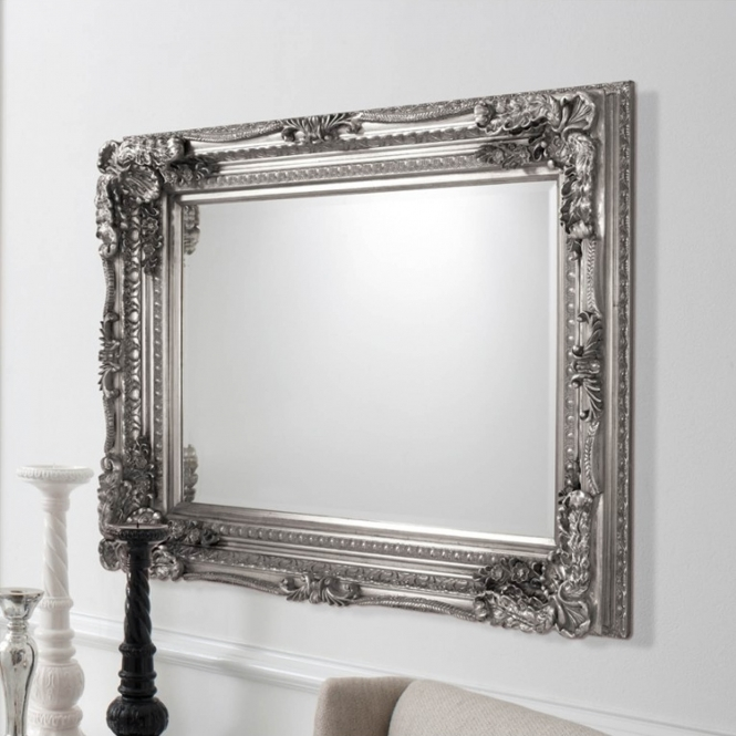 Carved Louis Silver Antique French Style Mirror