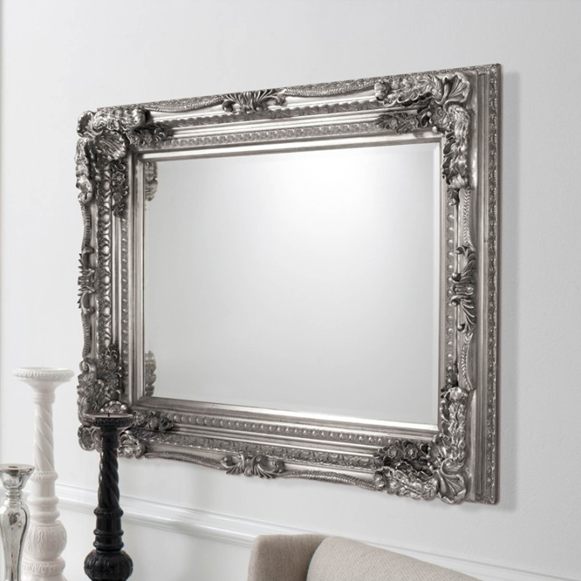 Carved louis silver antique french style mirror for Vintage style mirrors