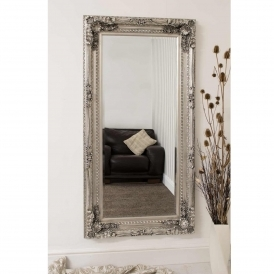 Carved Silver Louis Antique French Style Mirror