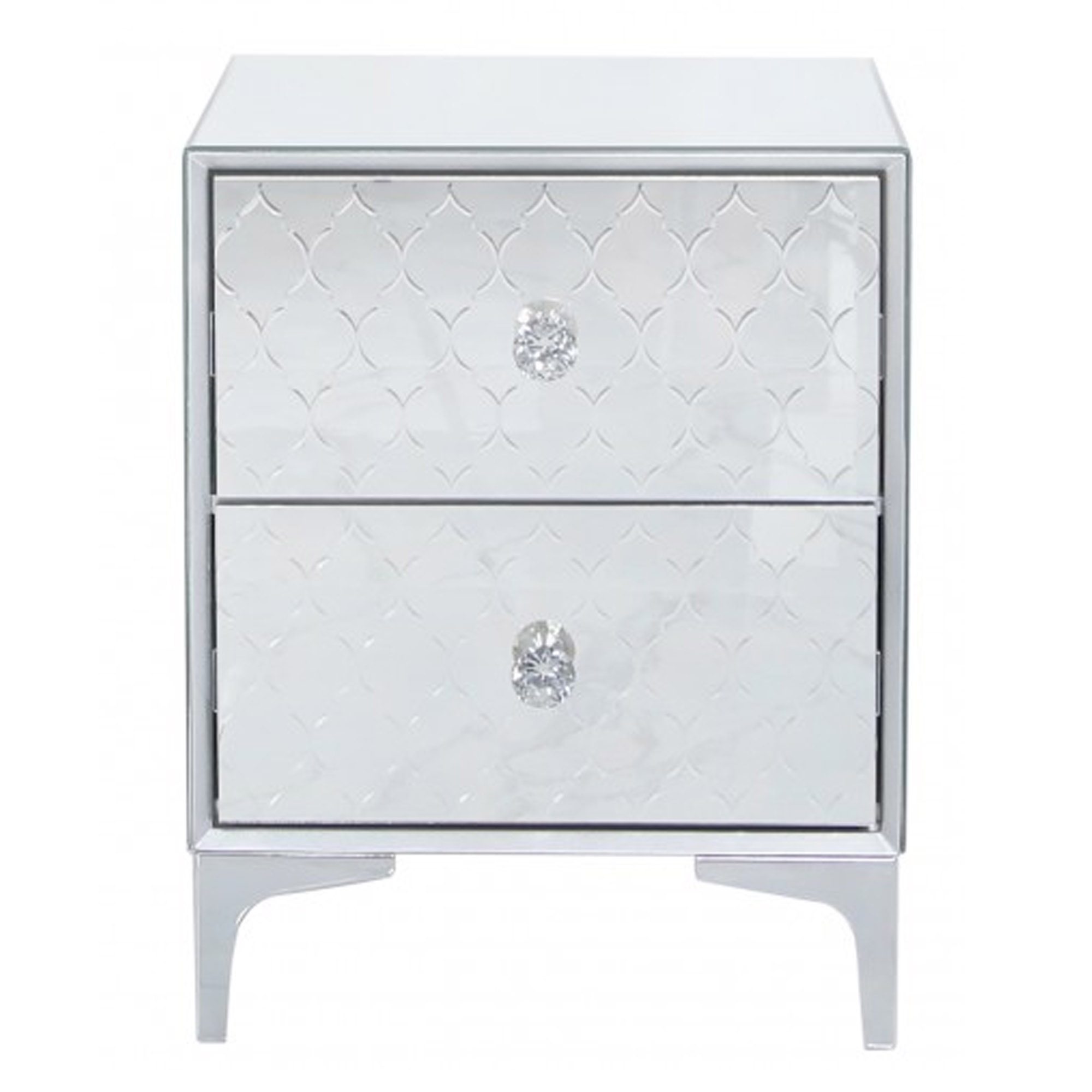 Picture of: Catania Mirrored 2 Drawer Bedside Cabinet Contemporary Bedsides