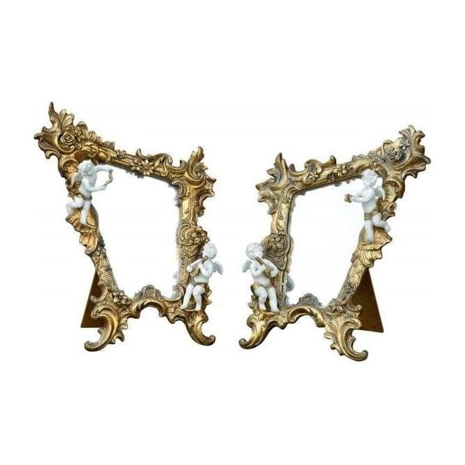 Cherub Gilt Leaf Antique French Style Mirror (Set Of 2)