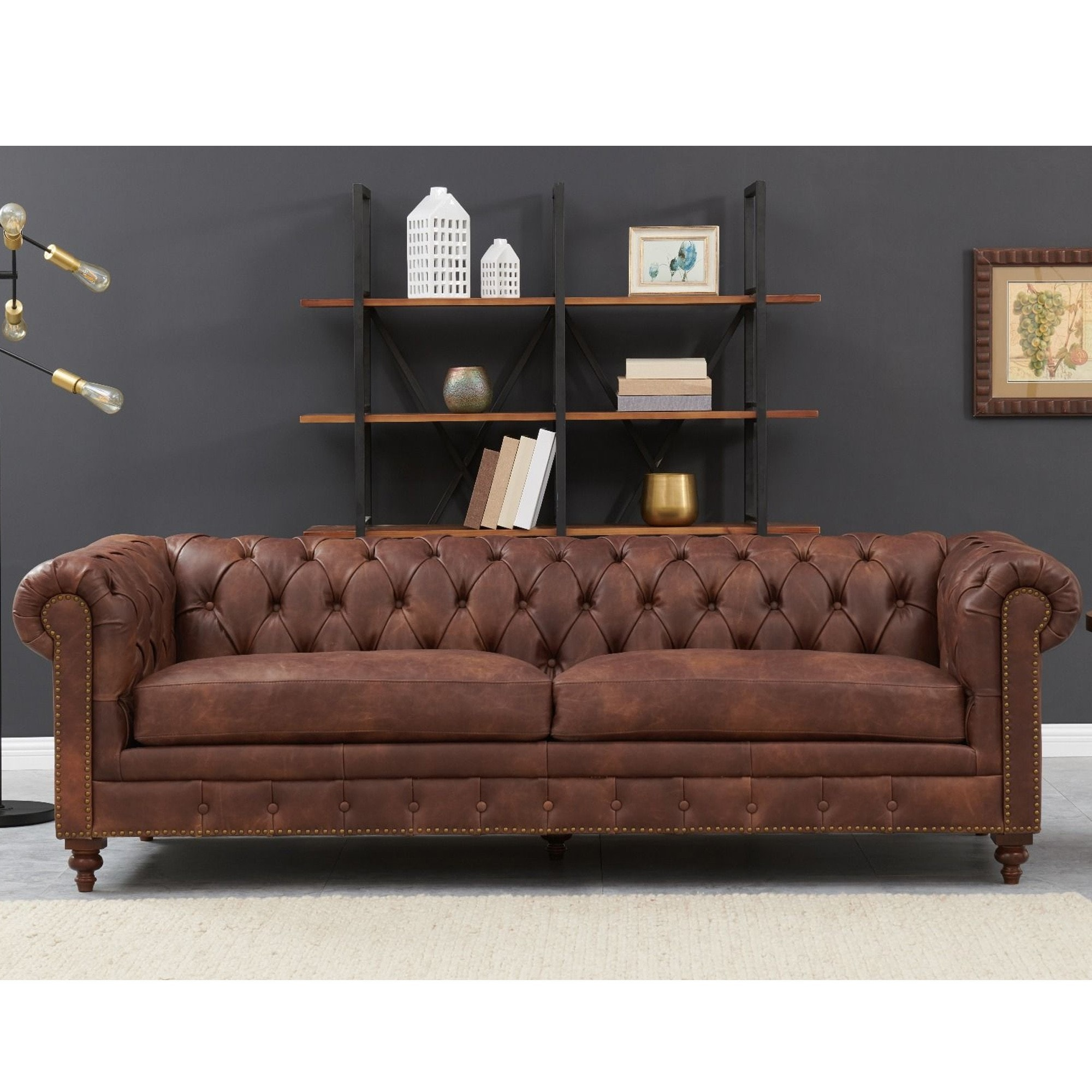 - Chesterfield 3 Seater Brown Leather Brown Leather Sofa