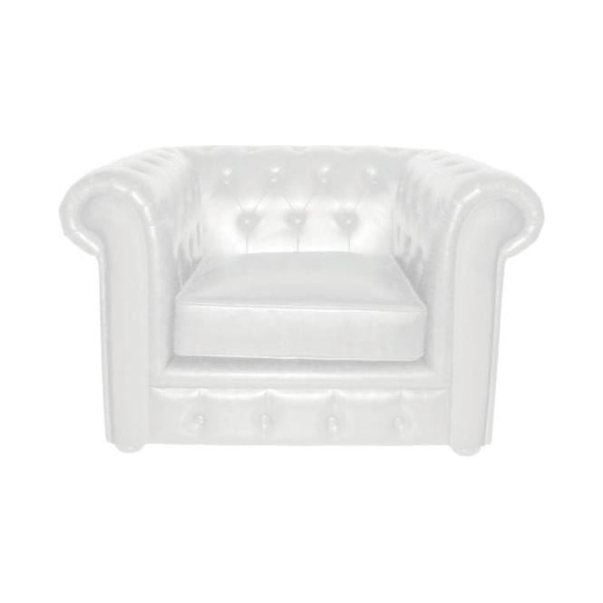 Chesterfield White Leather Chair
