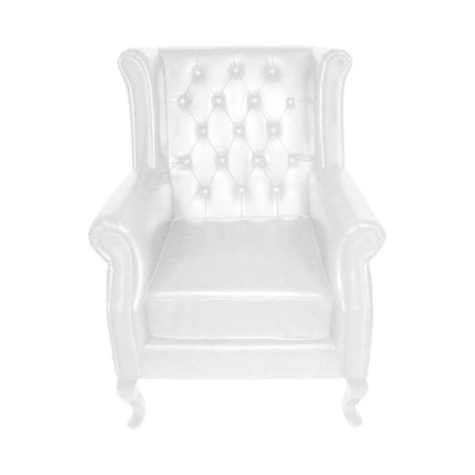 Chesterfield White Leather Wing Chair