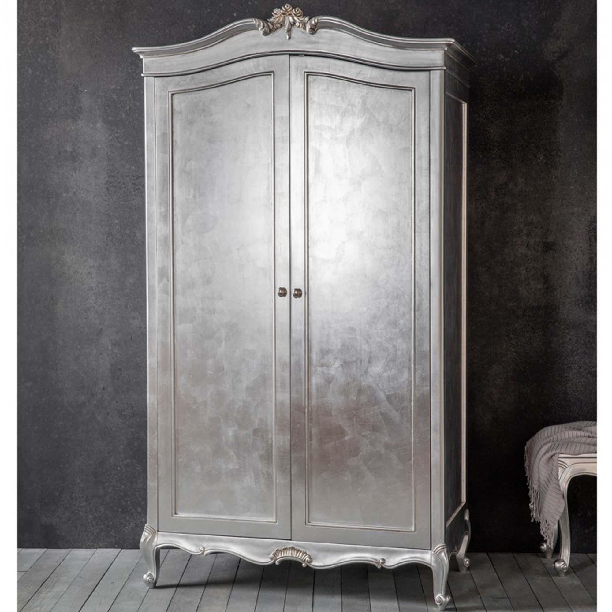 Chic Silver 2 Door Shabby Chic Wardrobe Homesdirect365