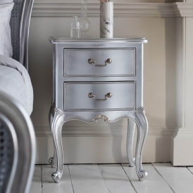 Chic Silver 2 Drawer Shabby Chic Bedside