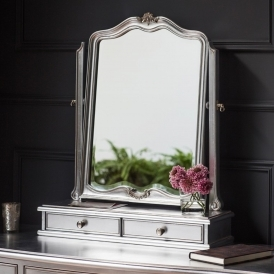 Chic Silver 2 Drawer Shabby Chic Dressing Table Mirror
