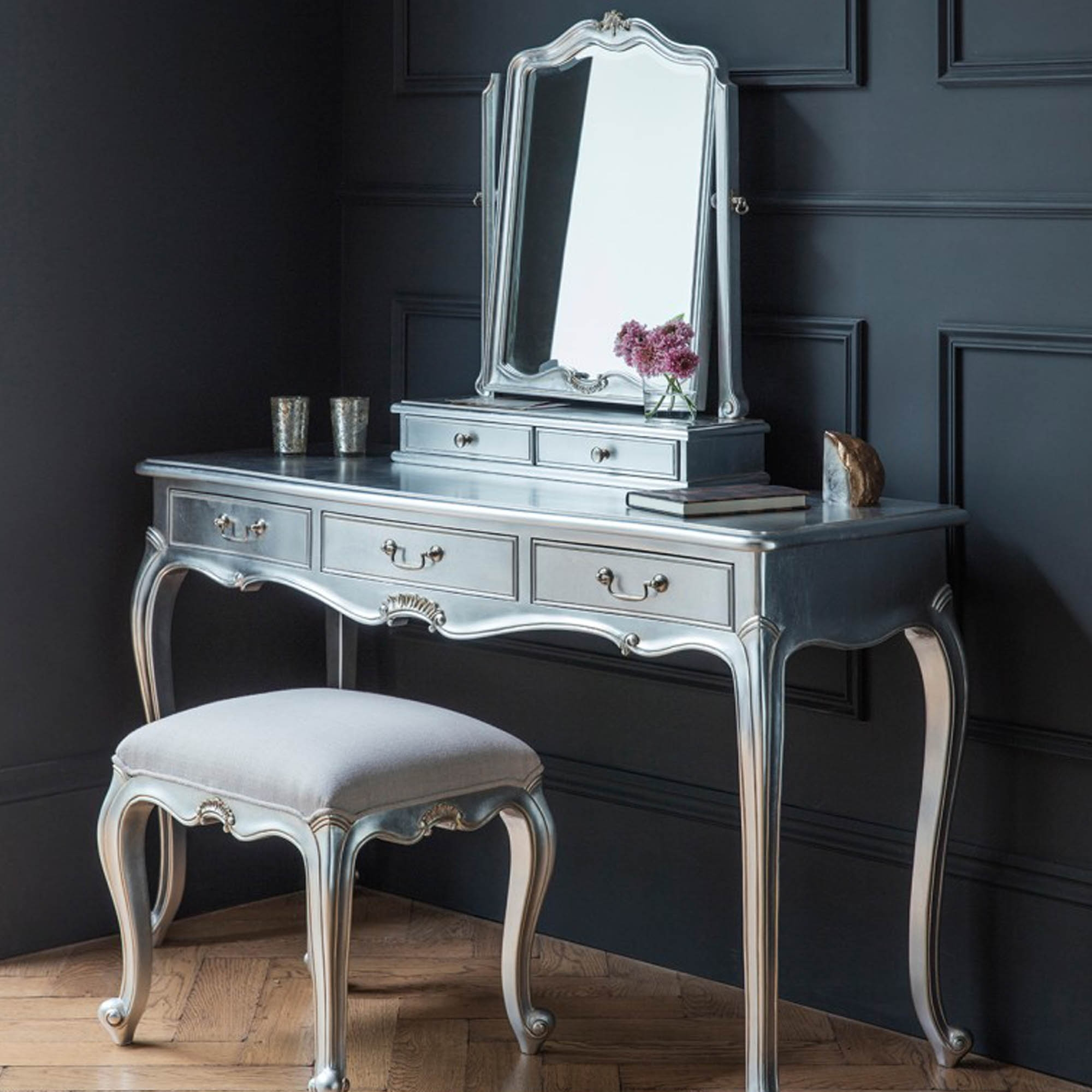 Chic silver 3 drawers shabby chic dressing table homesdirect365 chic silver 3 drawers shabby chic dressing table geotapseo Images