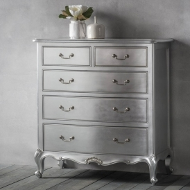 Chic Silver 5 Drawer Shabby Chic Chest