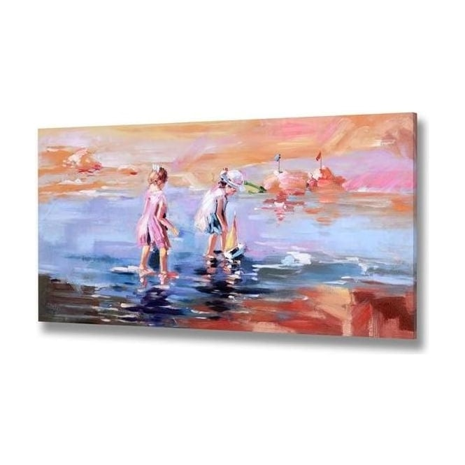 Children Playing In Sea Handpainted Canvas