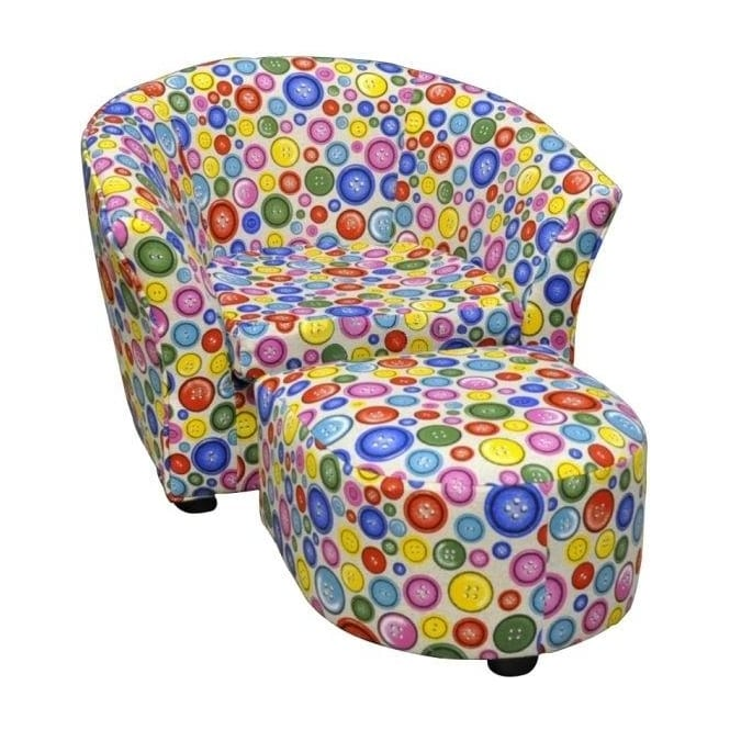 Children's Button Tub Chair & Stool