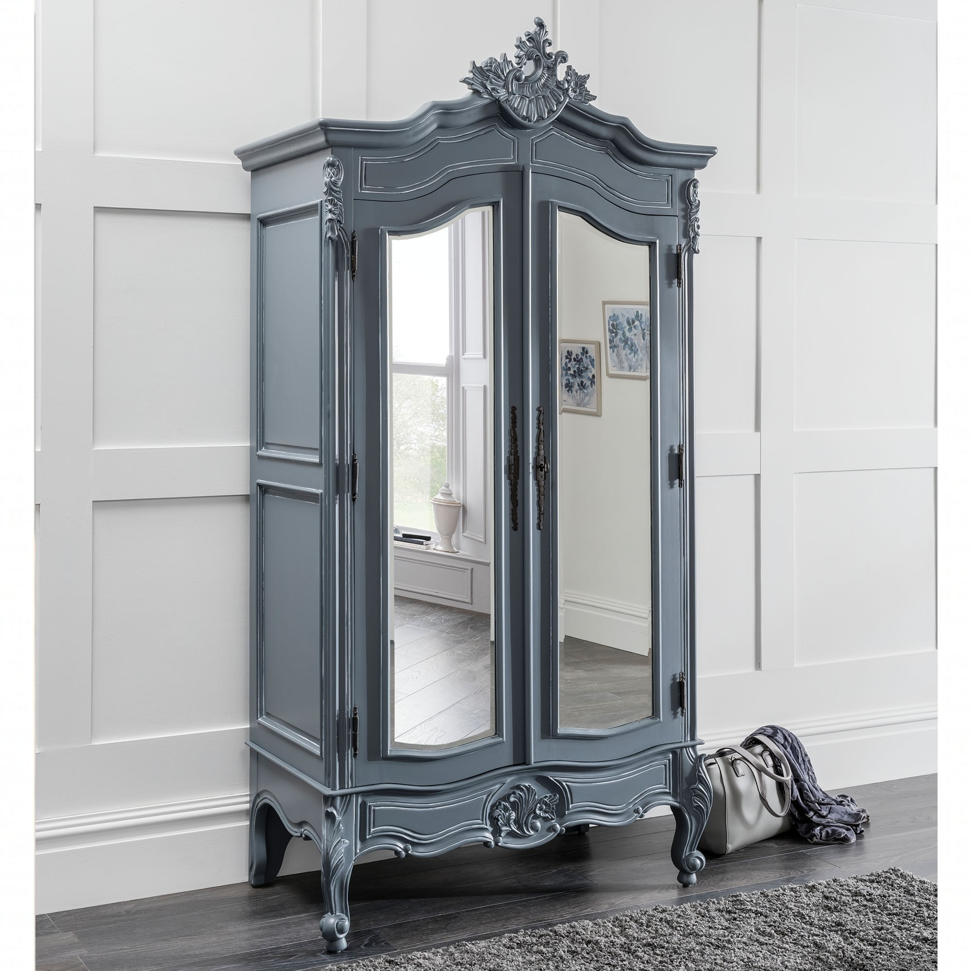 Chloe Antique French Style Wardrobe Grey Furniture At Homesdirect365