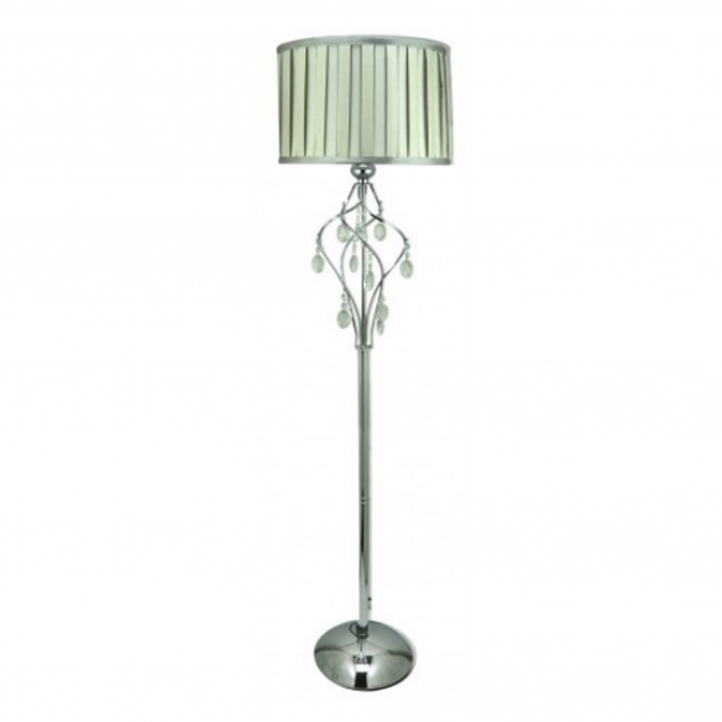 Chrome Floor Standing Lamp With Crystal Glass