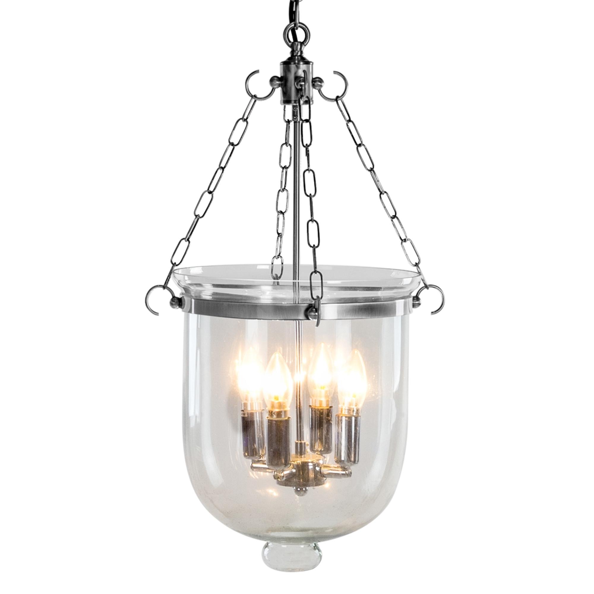 Chrome Glass Bell Jar Chandelier