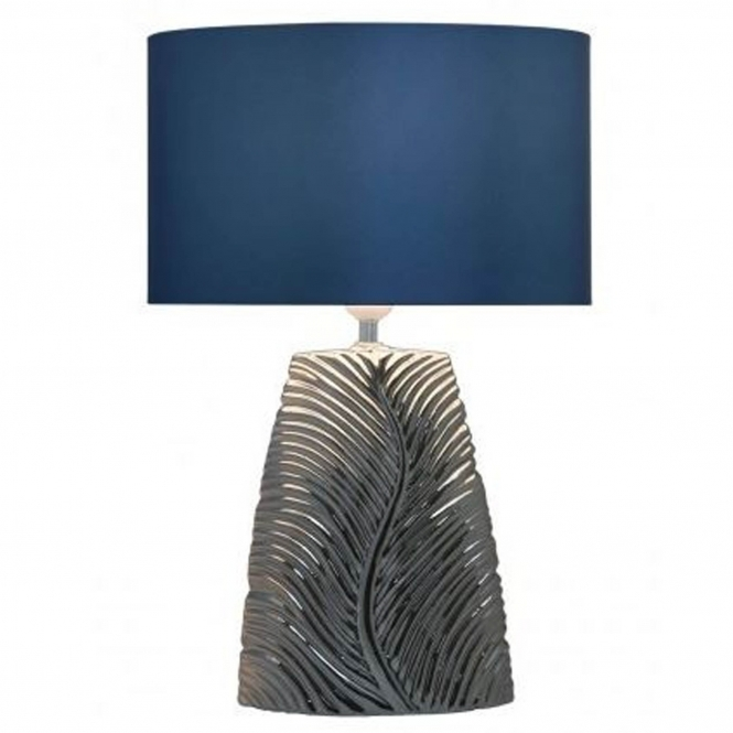 Chrome Ribbed Leaf Table Lamp