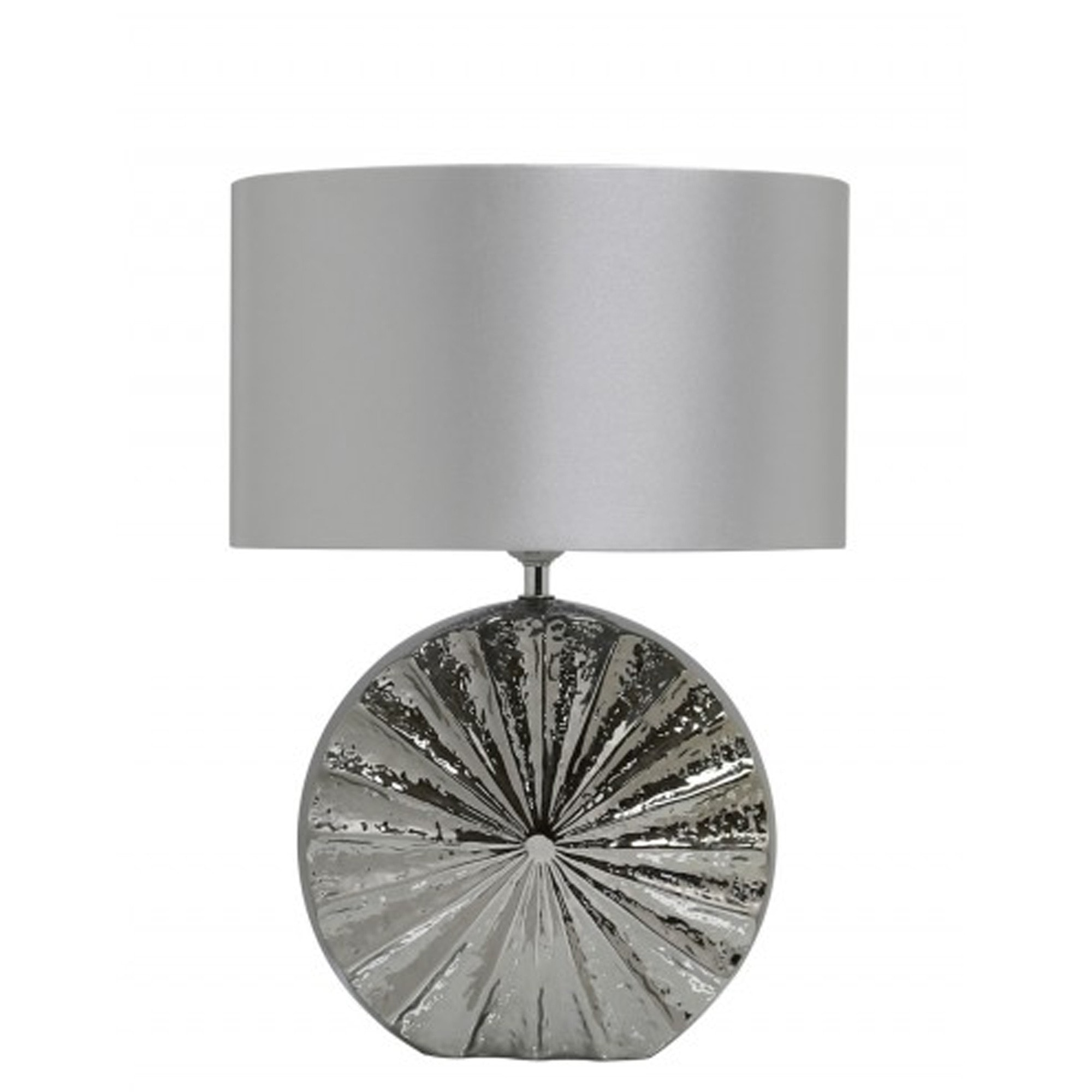Chrome Ribbed Small Silver Round Base Table Lamp Silver Table Lamp